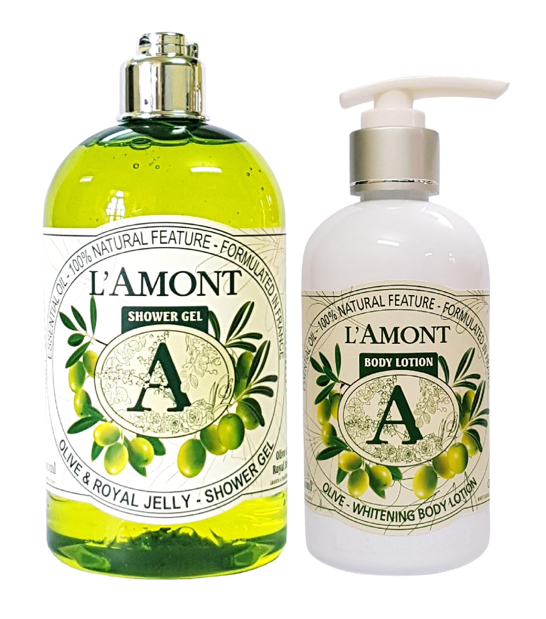 Combo Sữa Tắm Olive (500ml) Và Sữa Dưỡng Thể Olive (250 ml) - nhãn hiệu Lamont En Provence Nhật Bản