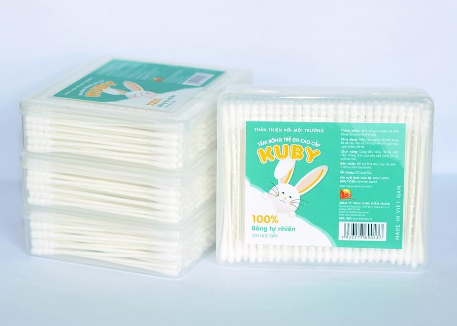Tăm bông trẻ em que thân giấy KUBY (Hộp 200 que) tốt nhất