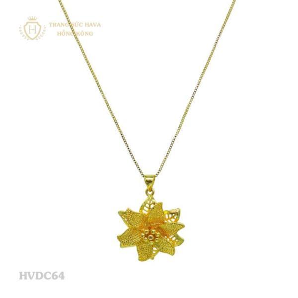 Vòng Cổ, Dây Chuyền Nữ Canh Hoa Đá Titan Xi Mạ Vàng - Trang Sức Hava Hồng Kông