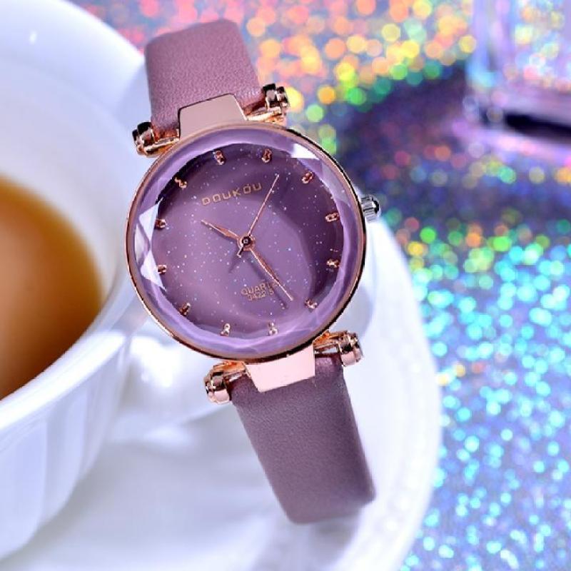 Nơi bán Đồng hồ nữ DOUKOU dây da mềm mặt đồng hồ lấp lánh kiểu dáng tinh tế sang trọng IW-DK3422