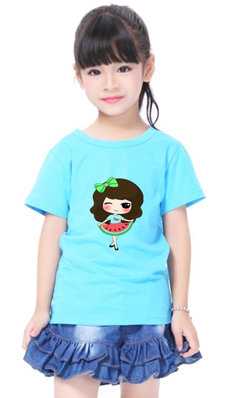 Áo thun bé gái mềm mịn in hình dễ thương BG43
