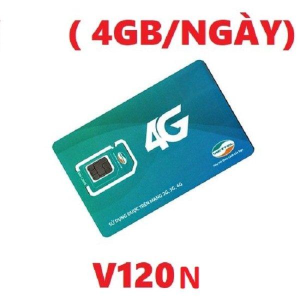 SIM 4G VIETTEl V120N 4GB/ngày dùng toàn quốc + gọi miễn phí nội mạng, ngoại mạng  - BẢO HÀNH 1 ĐỔI 1 từ MƯỜNG THANH ROYAL