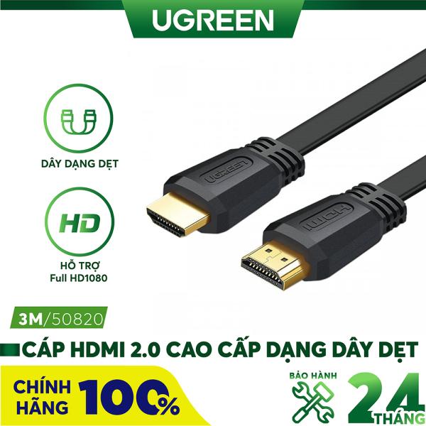 Bảng giá [Nhập ELMAY21 giảm thêm 10% đơn từ 99k] Cáp HDMI 2.0 cao cấp, hỗ trợ 4Kx2K, 3D Full HD1080 dạng dây dẹt UGREEN ED015 Phong Vũ