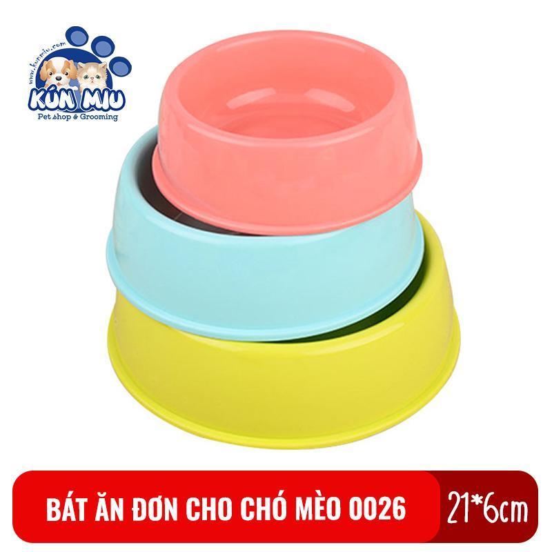 Bát ăn đơn cho chó mèo Kún Miu 0026 chất liệu nhựa PP an toàn cho thú cưng kích cỡ 21*6cm