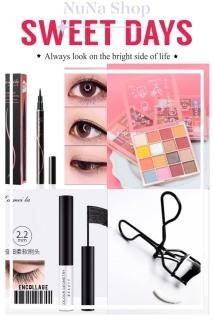 NuNa - Bộ trang điểm mắt 4 món gồm phấn mắt 16 màu, mascara, kẻ mắt nước, bấm mi thumbnail