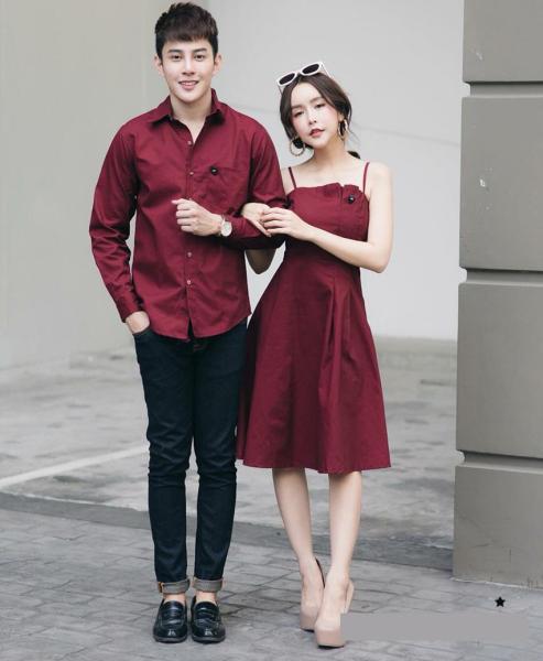 Set áo váy sơ mi đôi thiết kế màu đỏ đô dạo phố chụp cưới -HQCOUPLE- AV165