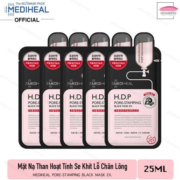 Combo 5 Mặt Nạ Than Hoạt Tính Dưỡng Ẩm Se Khít Lỗ Chân Lông Mediheal H.D.P Pore-Stamping Charcoal-Mineral Mask Ex 25ml x5