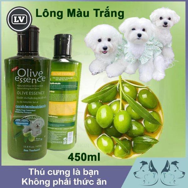 Sữa tắm chó tinh dầu ô liu OLIVE dành cho chó lông trắng - Dầu tắm chó mèo 450ml