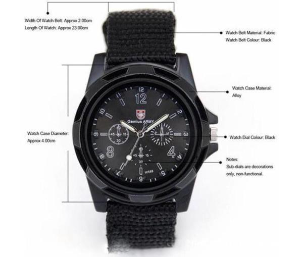 Đồng hồ dây vải dù kiểu dáng quân đội ( đen)