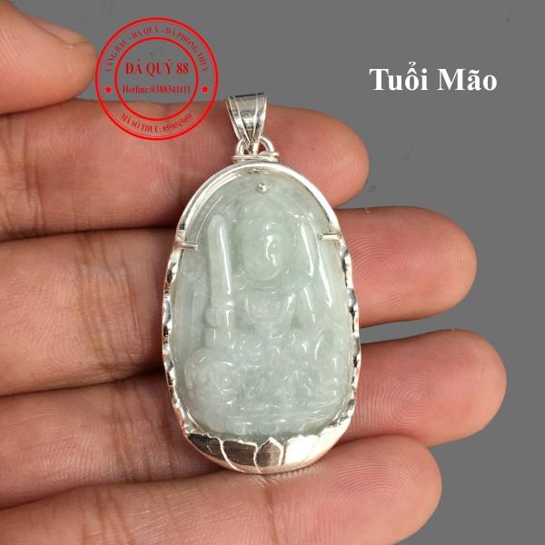 Mặt Dây Chuyền Phật Tuổi Mão Đá Ngọc Cẩm Thạch Tự Nhiên Bọc Bạc Ta Vỉ Kiểm Định