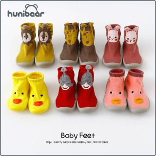 Giày vớ đi trong nhà Hunibear chống trượt vải cotton thoải mái thiết kế hoạt hình sống động và đáng yêu thời trang mùa xuân mới cho trẻ em - INTL