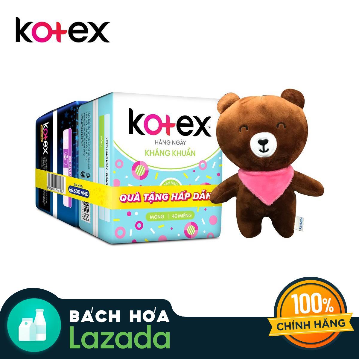 Combo chăm sóc toàn diện - 1 gói hàng ngày kháng khuẩn (40 miếng) + 1 gói Siêu ban đêm 28cm gói lớn + Tặng kèm 1 gấu bông xinh xắn nhập khẩu