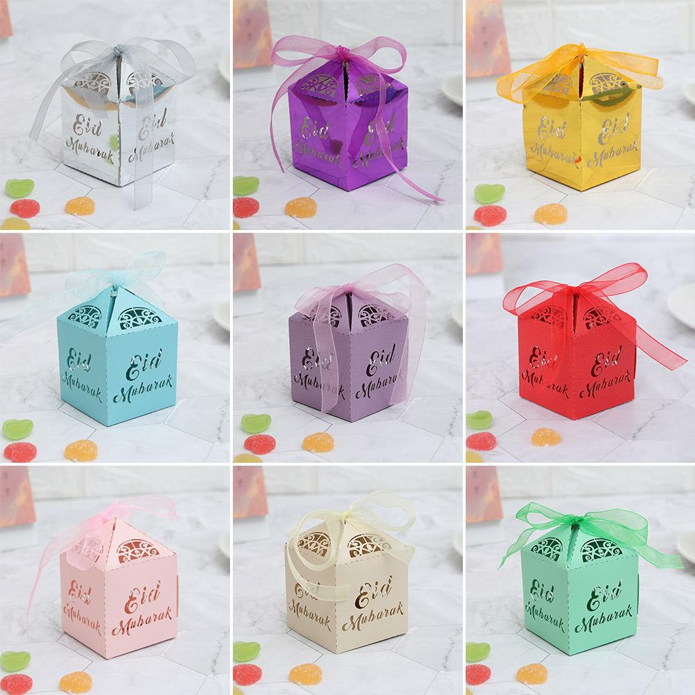 10/20/50pcs Gold Silver DIY Paper Party Supplies Ramadan Decoration Gift Boxes Islamic Muslim Eid Mubarak Candy Box