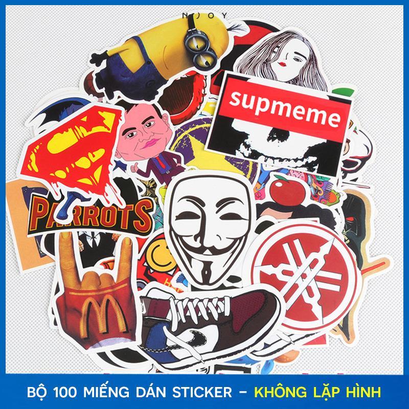 Bộ 100 miếng dán Sticker decal trang trí dán xe, ốp lưng, nón bảo hiểm, vali, tủ kệ