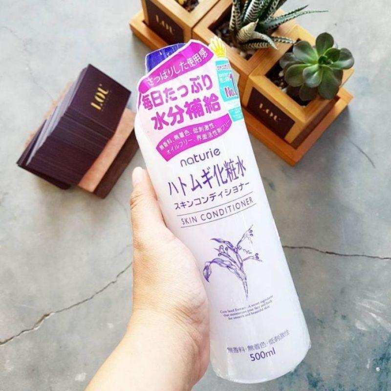 [Tặng kèm bình chiết dạng xịt] Nước Hoa Hồng Naturie Hatomugi Skin Conditioner, 500ml Dưỡng da trắng sáng, ẩm mượt cao cấp