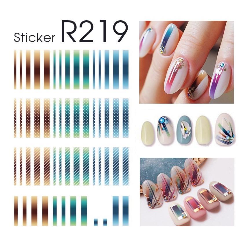 Sticker trang trí dán móng tay mẫu sọc nhiều màu R219 tốt nhất