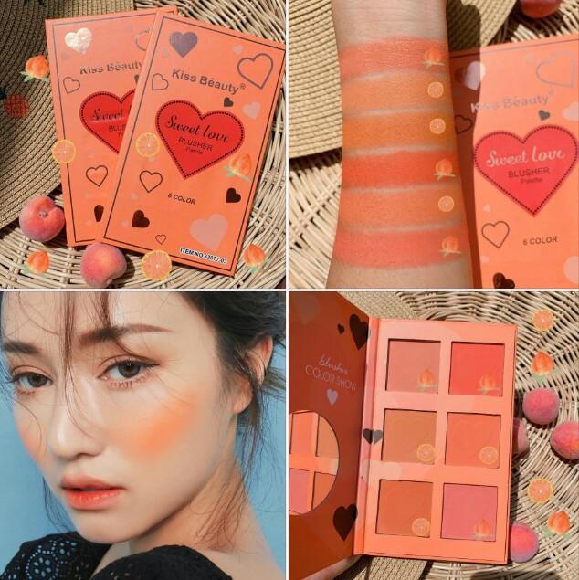 Bảng má hồng Tone Cam 6 ô KISS BEAUTY - Thái Lan tốt nhất