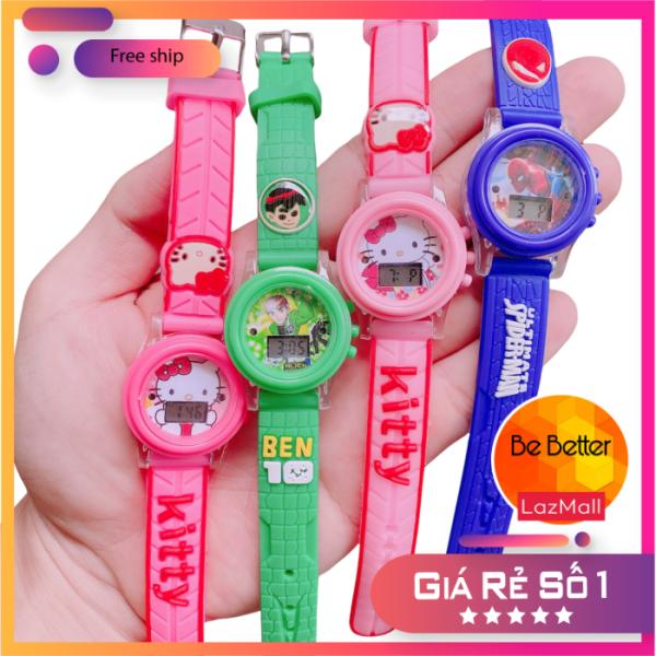 Nơi bán Đồng hồ trẻ em 🎀 Kitty 🎀 có đèn Led, chất liệu dây cao su mềm an toàn cho bé