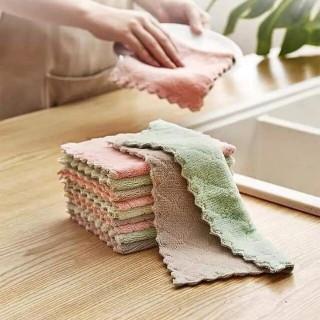 Set 5 khăn lau 2 mặt đa năng siêu thấm hút, khăn lau bếp, khăn lau tay, khăn lau mặt, lau xoong nồi, bát đũa không dính dầu mỡ kích thước 15 x 25cm thumbnail