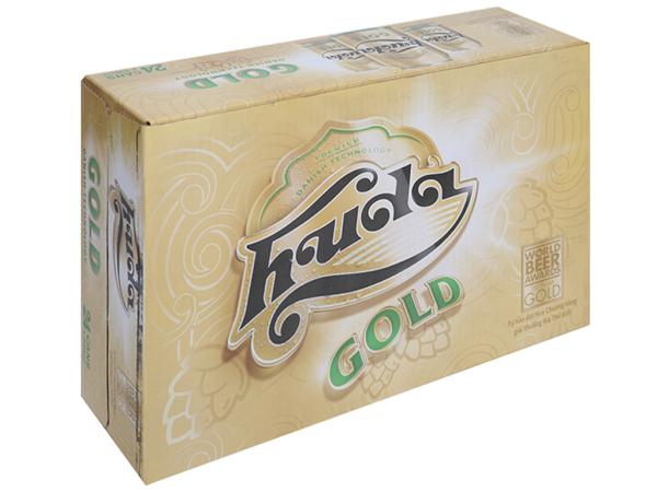 Thùng 24 lon bia Huda Gold 330ml