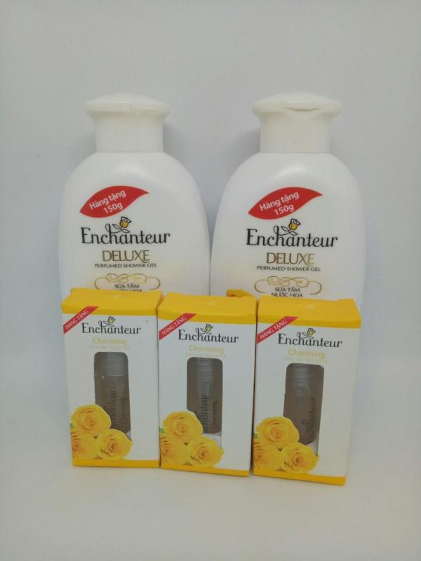 Trọn bộ 5 món : 2 chai Sữa Tắm Trắng Và Dưỡng Ẩm có hạt Enchanteur Deluxe + Tặng 3 chai Nước Hoa Enchanteur hương thơm quyến rũ + kèm thêm 1 túi đựng mỹ phẩm xinh xắn nhập khẩu