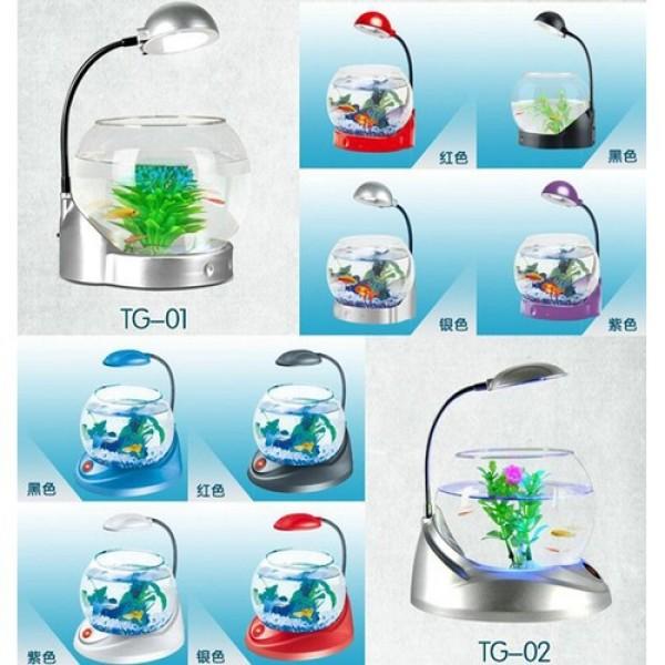 Bể Cá Mini Dạng Tròn Siêu Dễ Thương Jeneca TG-03 Bể cá mini kiêm đồng hồ để bàn