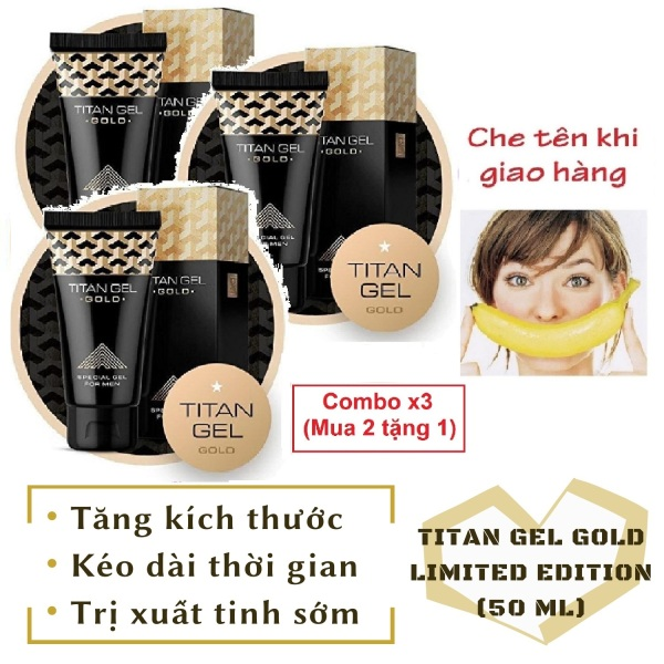 Combo x3 (mua 2 tặng 1) [Lô mới nhất] Gel Titan Nga GOLD cao cấp phiên bản giới hạn (50ml) nhập khẩu