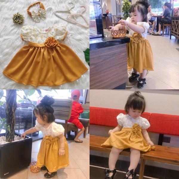 Giá bán [HCM][Đầm Thiết Kế] Đầm Hoa Vàng Xinh Cho Bé