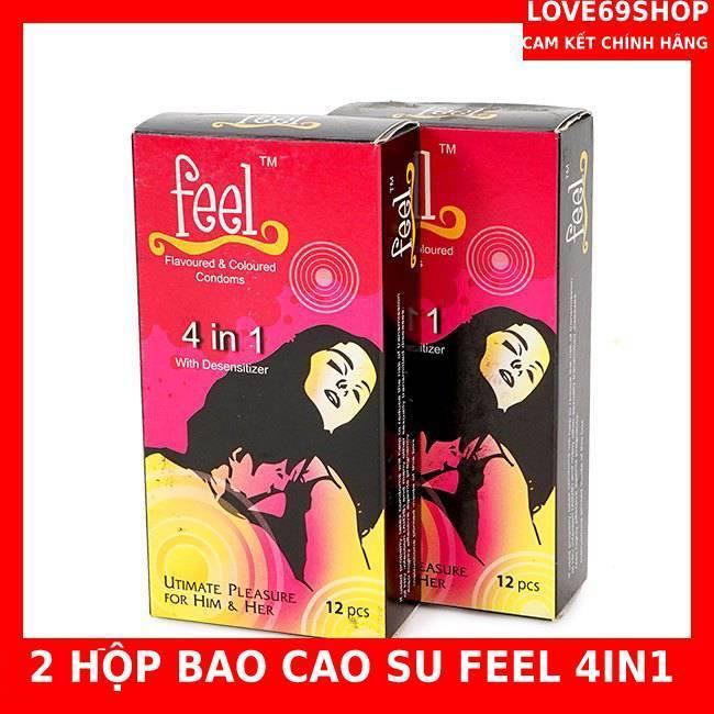 Bộ 2 hộp bao cao su Feel 4 in 1 giúp kéo dài thời gian quan hệ lâu 24 chiếc nhập khẩu