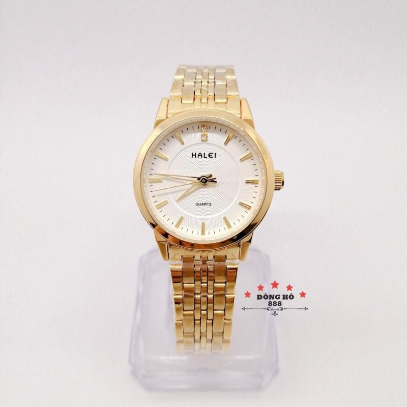 Đồng hồ nữ HALEI dây kim loại thời thượng ( HL552 dây vàng mặt trắng ) - TẶNG 1 vòng tỳ hưu phong thuỷ