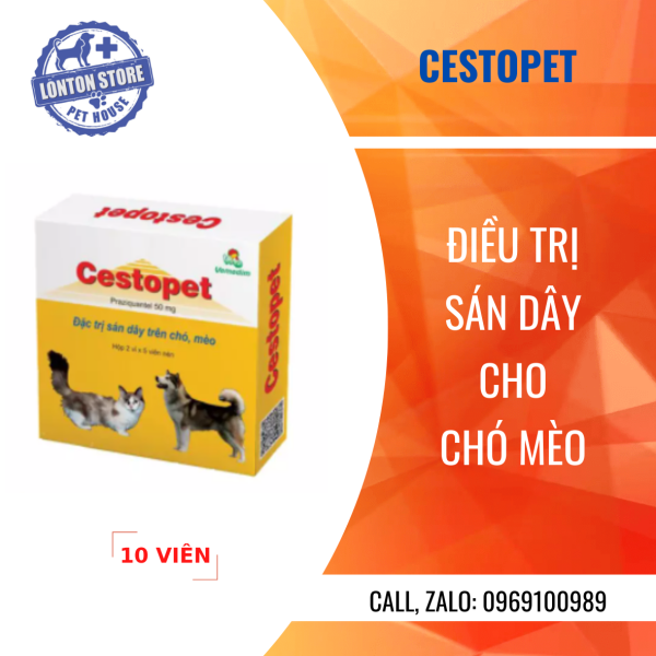 Vemedim Cestopet-Viên nén chứa 50 mg Praziquantel Đặc trị sán dây trên chó, mèo