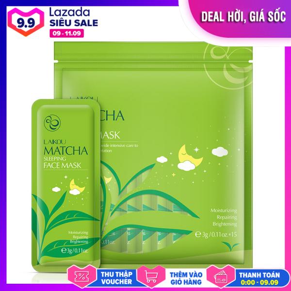 [Túi 15 miếng] Mặt nạ ngủ trà xanh LAIKOU dưỡng ẩm và chống lão hóa mặt nạ dưỡng da mặt nạ ngủ matcha mặt nạ nội địa Trung XP-MN161