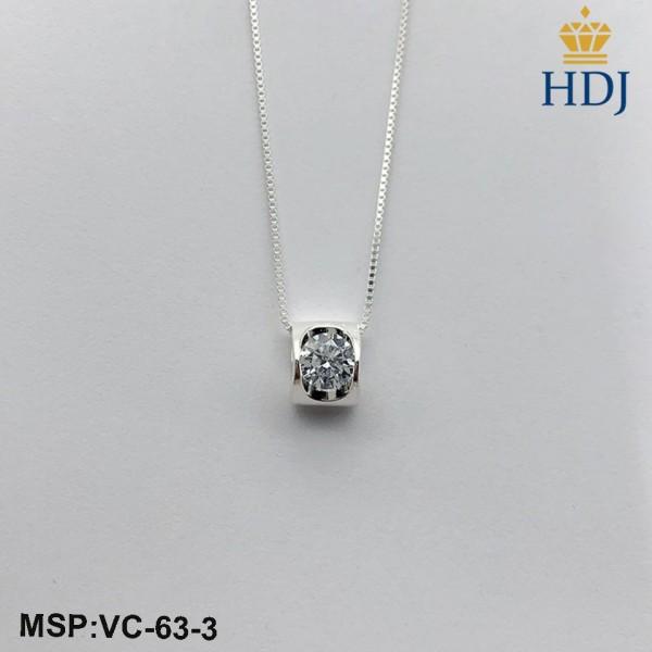 Dây chuyền bạc 925 Hình Trái tim trong anh đính đá nhiều màu trang sức cao cấp HDJ mã VC-63-3
