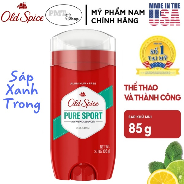 [USA] Lăn sáp khử mùi nam Old Spice Pure Sport đỏ 85g (sáp xanh trong) High Endurance - Mỹ nhập khẩu