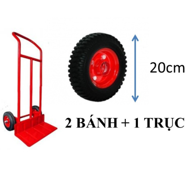 Bánh xe 20cm cao su và trục bánh dùng để thay thế hoặc lắp mới bộ xe kéo, xe đẩy hàng