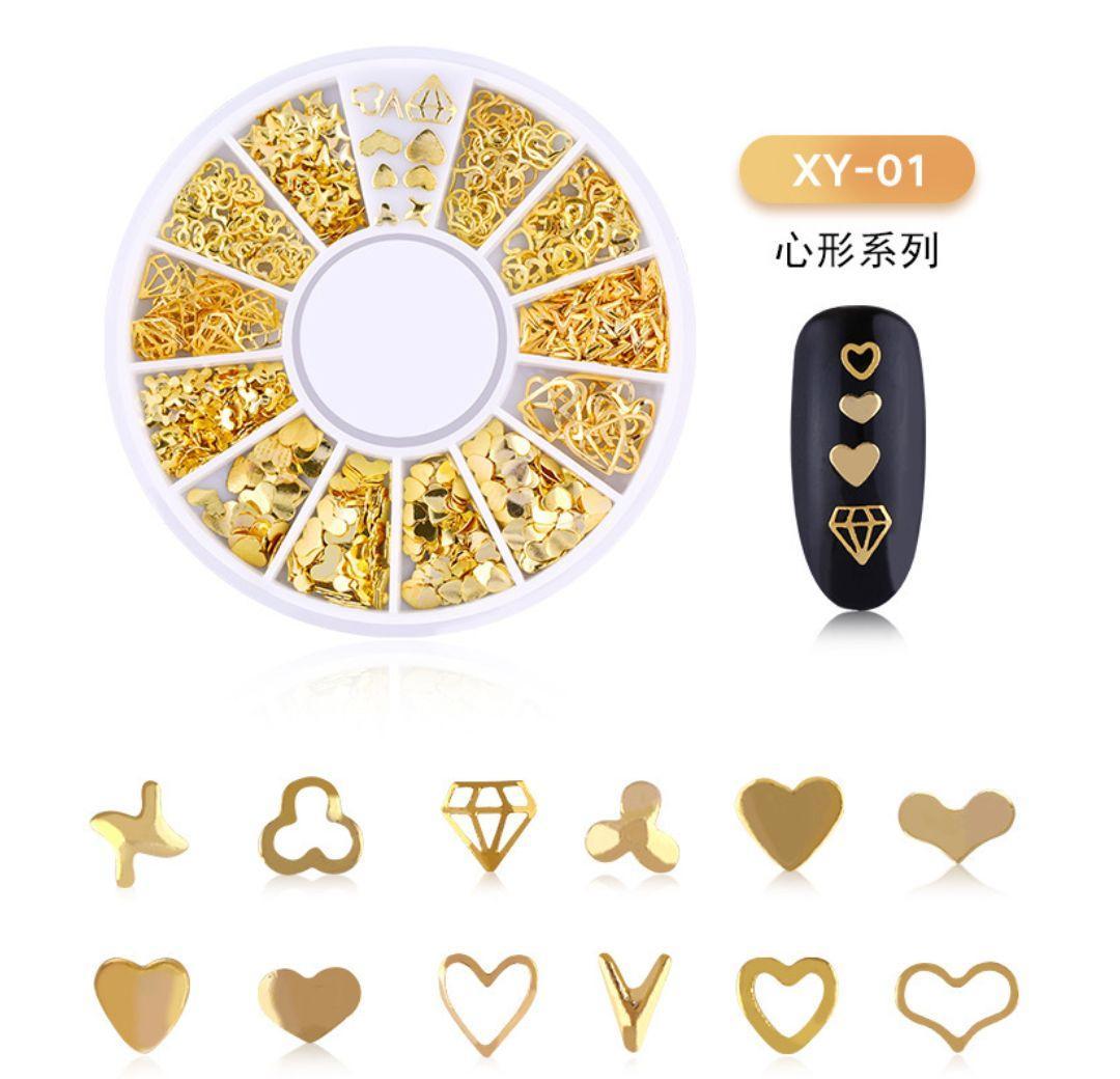 Khay kèm hạt nails Phụ kiện trang sức mạ vàng đính móng tay x01 tốt nhất