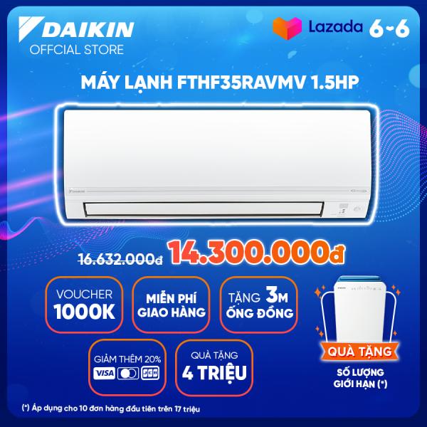 Bảng giá Máy Lạnh Daikin Inverter 2 chiều FTHF35VAVMV - 1.5HP (12000BTU) Tiết kiệm điện - Luồng gió Coanda - Tinh lọc không khí - Độ bền cao - Bảo vệ bo mạch - Chống ăn mòn - Làm lạnh nhanh - Hàng chính hãng