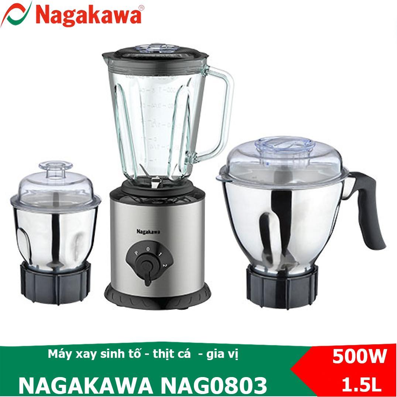 Mã Giảm Giá Máy Xay Sinh Tố, Xay Thực Phẩm đa Năng 3 Trong 1, 500W Nagakawa NAG0803