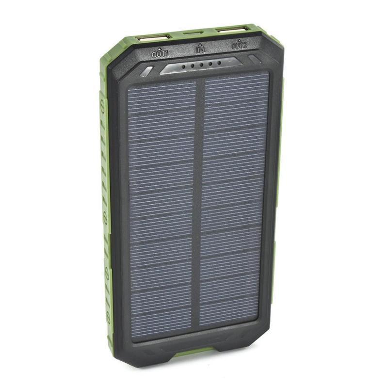 Giá 20000MAH Đèn Chiếu Sáng Ngoài Trời Chống Thấm Nước Di Động Di Động Đèn Năng Lượng Mặt Trời Sạc Dual USB Power Bank Ốp Lưng Bộ