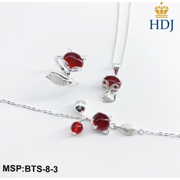 Combo dây chuyền, lắc tay, lắc chân và nhẫn bạc Ý 925 Hình Hồ ly may mắn sang trọng trang sức cao cấp HDJ mã BTS-8-3