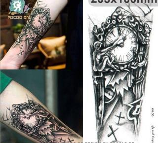 Hình xăm dán tatoo đồng hồ quỷ kích thước 15 x 21 cm - miếng dán hình xăm đẹp dành cho nam thumbnail