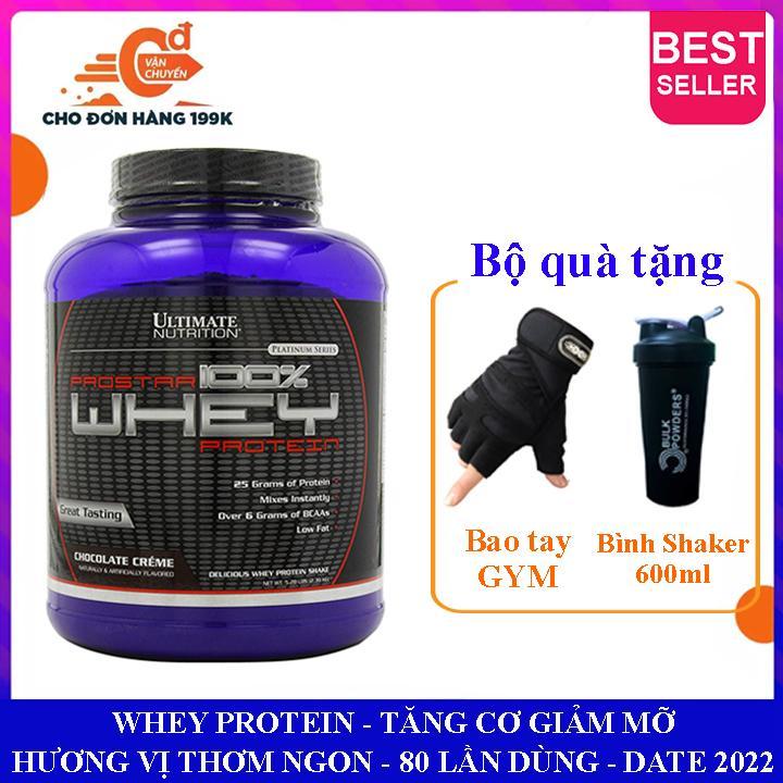 [TẶNG BÌNH SHAKER VÀ BAO TAY] Sữa tăng cơ Prostar 100% Whey Protein của Ultimate Nutrition hộp 80 lần dùng hỗ trợ tăng cơ giảm cân, giảm mỡ bụng, tăng sức bền sức mạnh vượt trội cho người tập GYM và chơi thể thao - thuc pham chuc nang