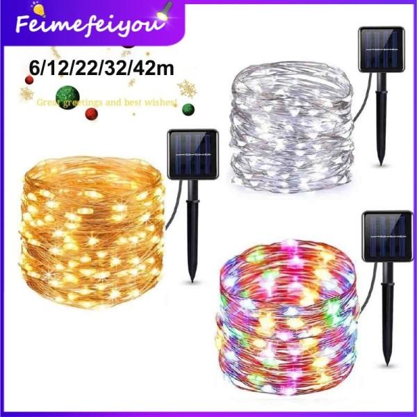 Bảng giá dây đèn led trang trí đèn led năng luong mặt trời 4 màu đèn nháy đèn led trang trí phòng ngủ Đèn ngoài trời 8 chế độ làm việc 42/32/22/12/6M, 400/300/100/100/50leds, 600/800/1200mAH