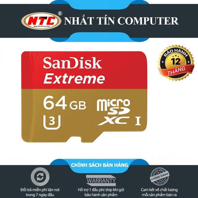 Thẻ nhớ microSDXC Sandisk Extreme 667X A1 64GB UHS-I U3 100MB/s - KHÔNG BOX (Gold)
