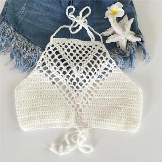 baoxue Slowball Phụ Nữ Crochet Ren Handmade Knit Bra Bãi Biển Bikini Halter Cami Tank Crop Tops thumbnail