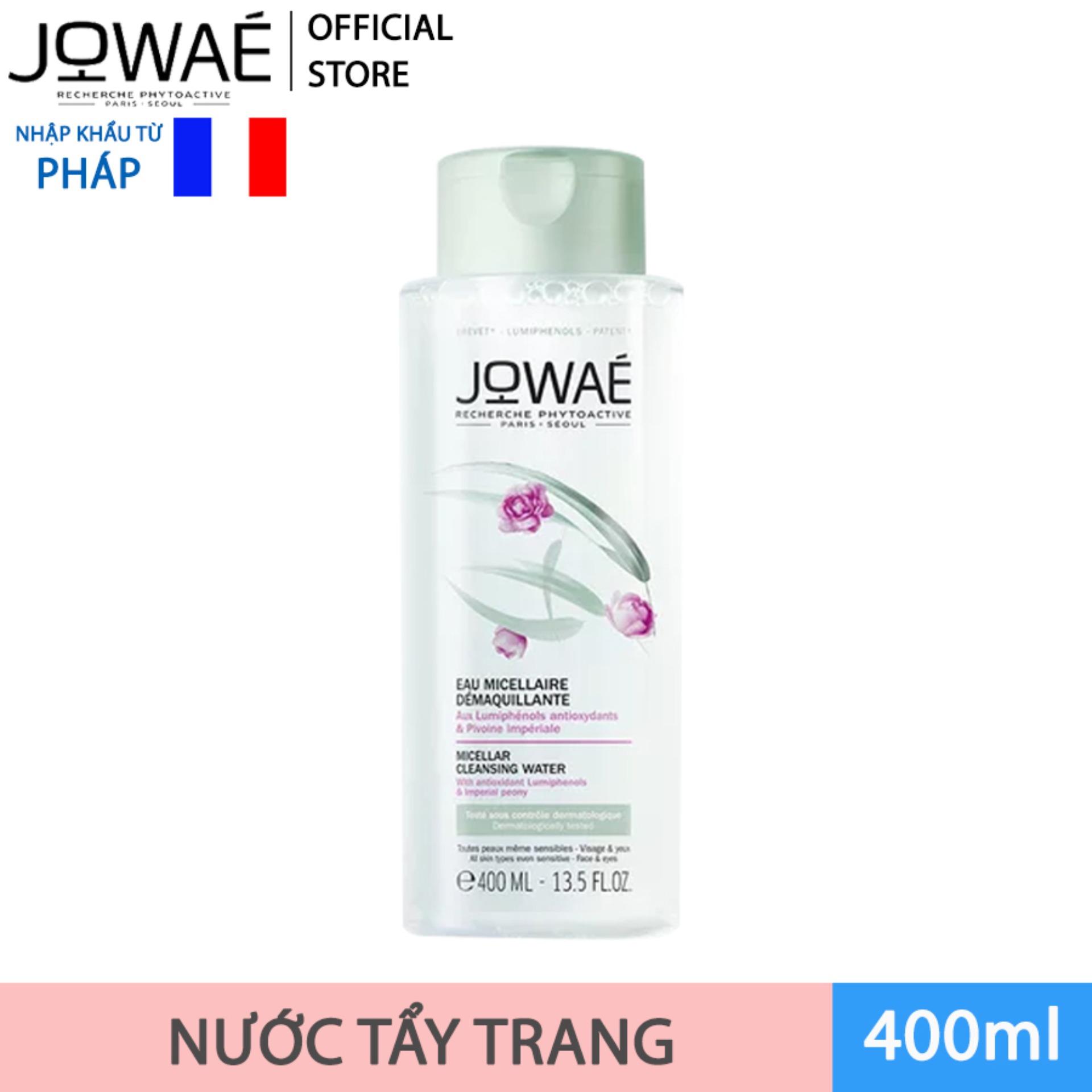 Nước tẩy trang loại bỏ Make up JOWAE 100% làm sạch da không nhờn dính và khô căng Mỹ phẩm thiên nhiên nhập khẩu Pháp MICELLAR CLEANSING WATER 400ml cao cấp