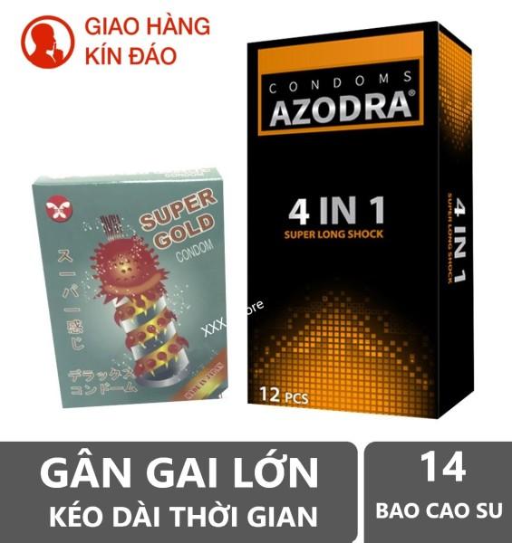 COMBO 1 hộp Bao cao su Gân gai kéo dài thời gian AZODRA 12 cái tặng 1 hộp bcs Super gold 2 cái