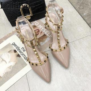 Loldeal Giày Gót Nhọn Nữ Sexy Đinh Tán Nhọn, Trang Trí Thoải Mái