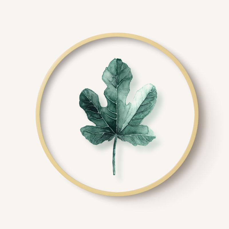 Qibei Nordic Green Vegetation Decorative Painting Transparent Circle Glass Painting Living Room Restaurant Plant Leaf Wall Paintings