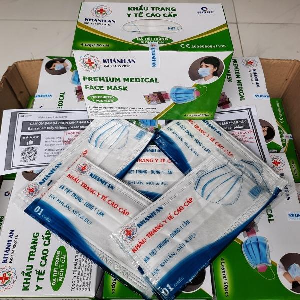 Khẩu trang y tế 4 lớp kháng khuẩn Khánh An màu trắng xanh hồng đen xám loại tiệt trùng 50 bịch 50 cái